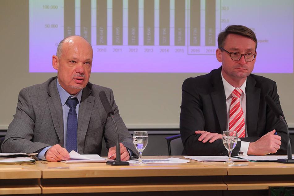 Innenminister Roland Wöller (47, CDU, r.) und LKA-Chef Petric Kleine (55) präsentierten die neuesten Zahlen.
