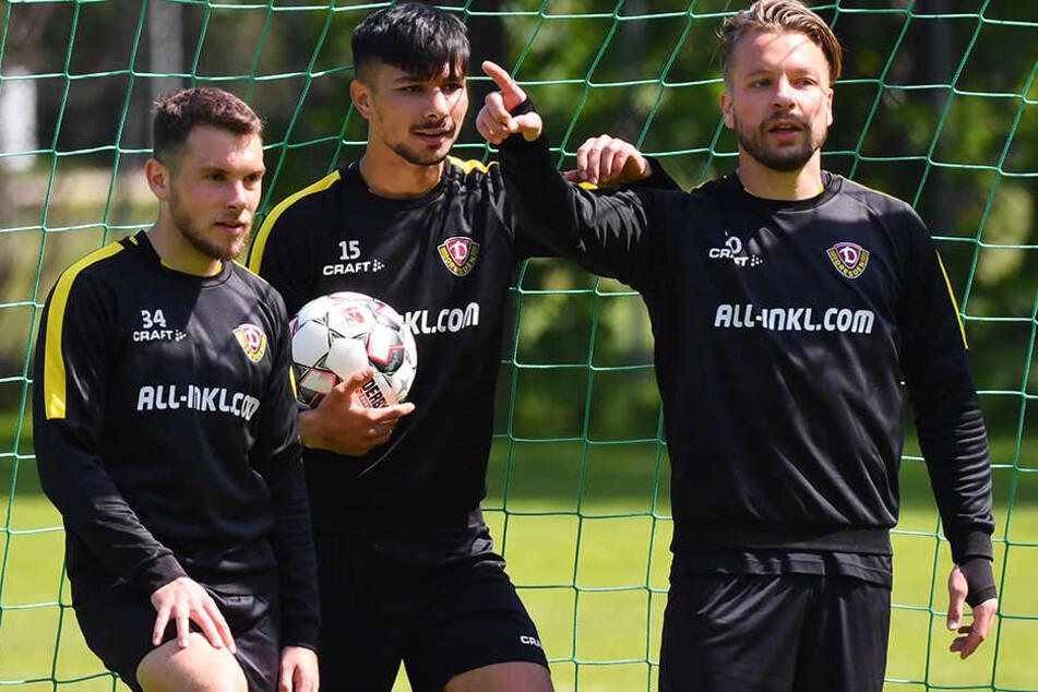 Zwei Youngster, ein Routinier: Justin Löwe, Osman Atilgan und Patrick Ebert (v.l.).