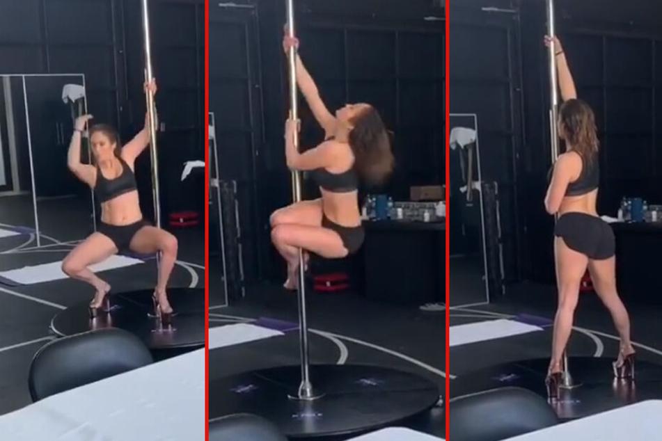 Jennifer Lopez gibt beim Poledance alles.