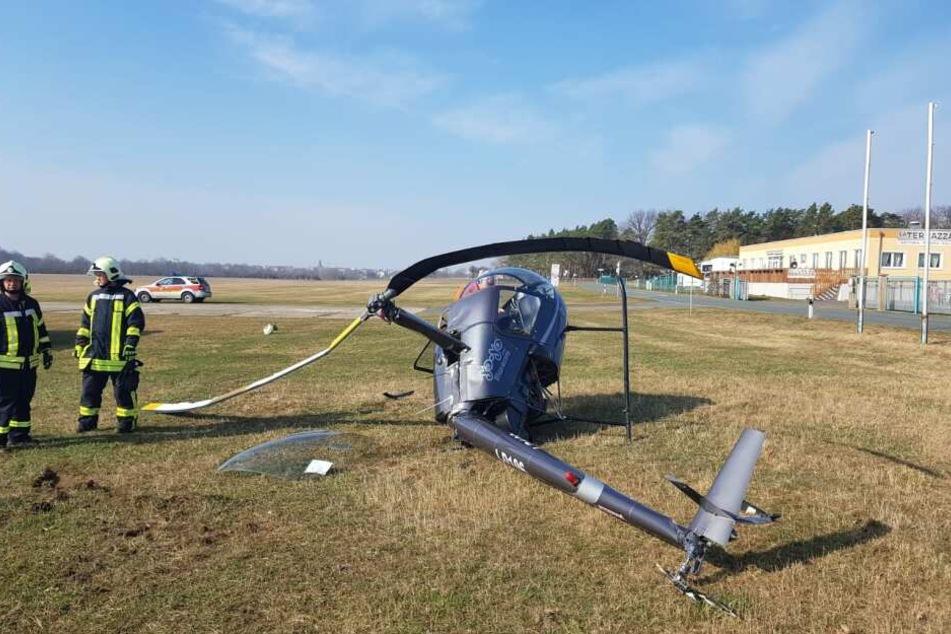 Der Hubschrauber war auf dem Flugplatz in Riesa abgestürzt.