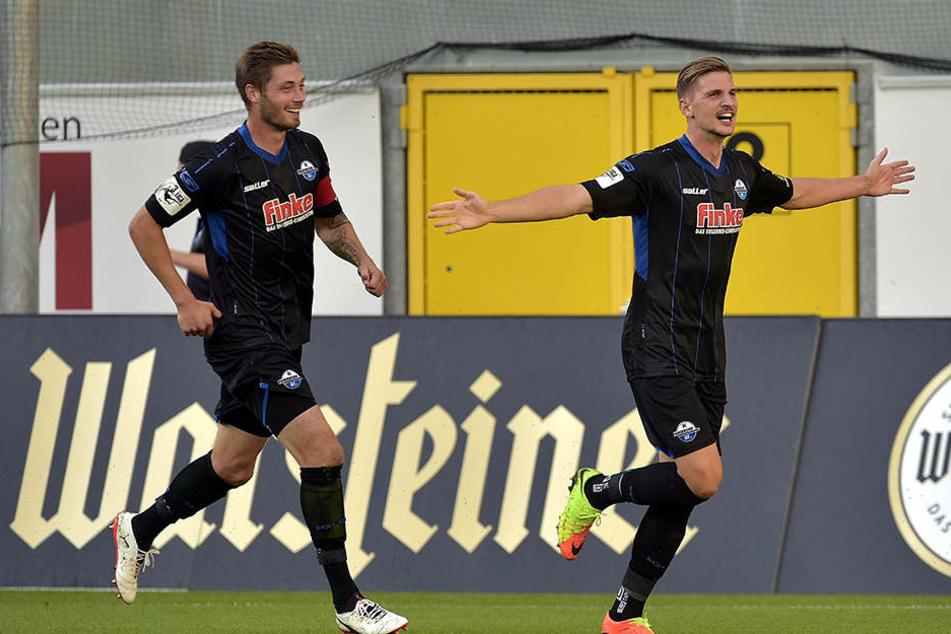 2:0 schon nach 16 Minuten! Sebastian Wimmer (r.) bedankte sich mit dem Tor für seine Einsatzzeit.