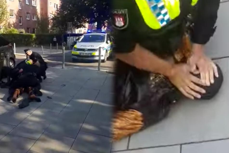 Polizist drückt dunkelhäutigen Mann mit Gesicht auf Pflastersteine, der fleht um sein Leben