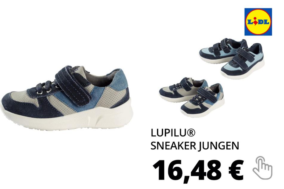 LUPILU® Sneaker Jungen, mit robuster Laufsohle, Klettverschlüssen, Obermaterial aus Leder