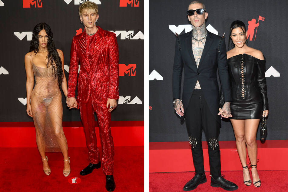 Megan Fox (l.) and Kourtney Kardashian (r.) introduced their respective partners Machine Gun Kelly (second to l.) and Travis Barker.