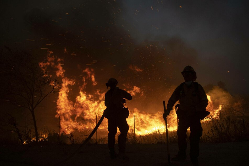 Firefighters on duty at a forest fire in California.