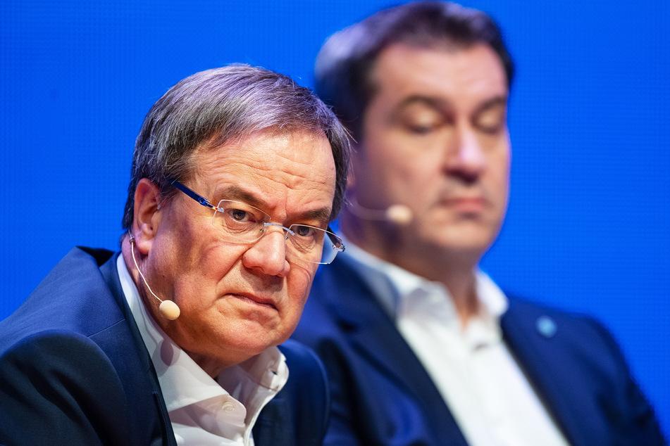 Armin Laschet (60, CDU, l.) ist gewählter Parteivorstand. Die Wähler würden sich jedoch Markus Söder (54, CSU) als Kanzler wünschen.