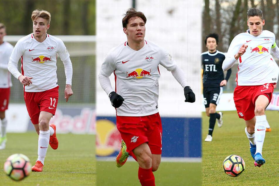 Sowohl Fridolin Wagner, Anthony Barylla (beide FSV Zwickau) als auch Alexander Siebeck (Karlsruher SC, v.l.n.r.) verlassen die U23 von RB Leipzig am Saisonende.