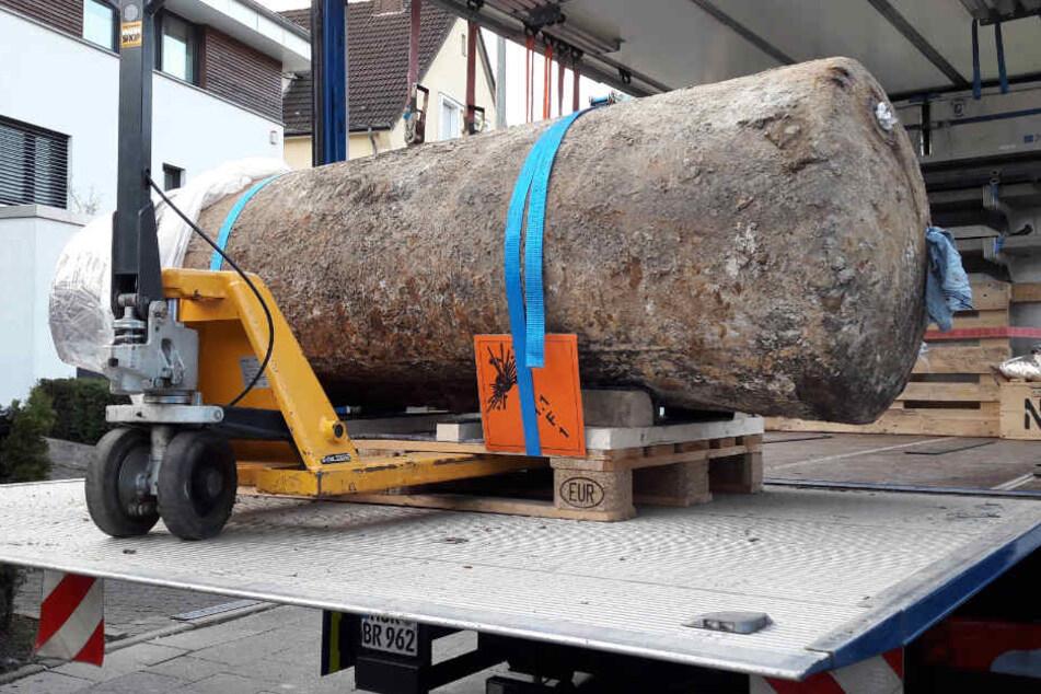 Die 1,8-Tonnen-Fliegerbombe war am Sonntag um 17 Uhr entschärft.