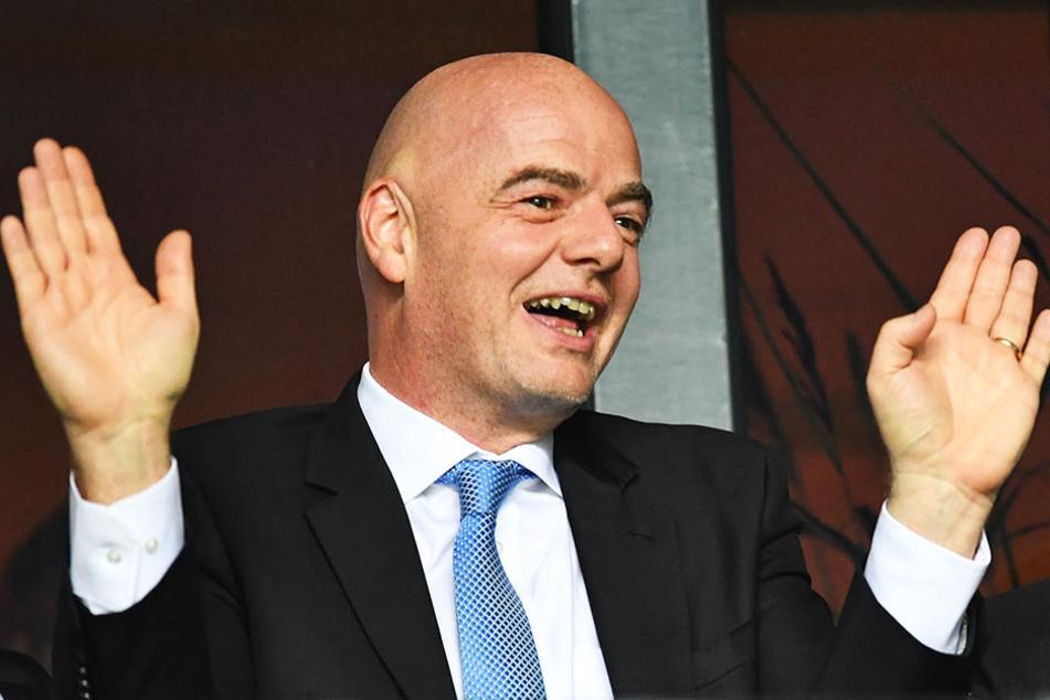 FIFA-Präsident Gianni Infantino plant bei der WM 2022 in Katar ein Großturnier mit 48 teilnehmenden Nationen.