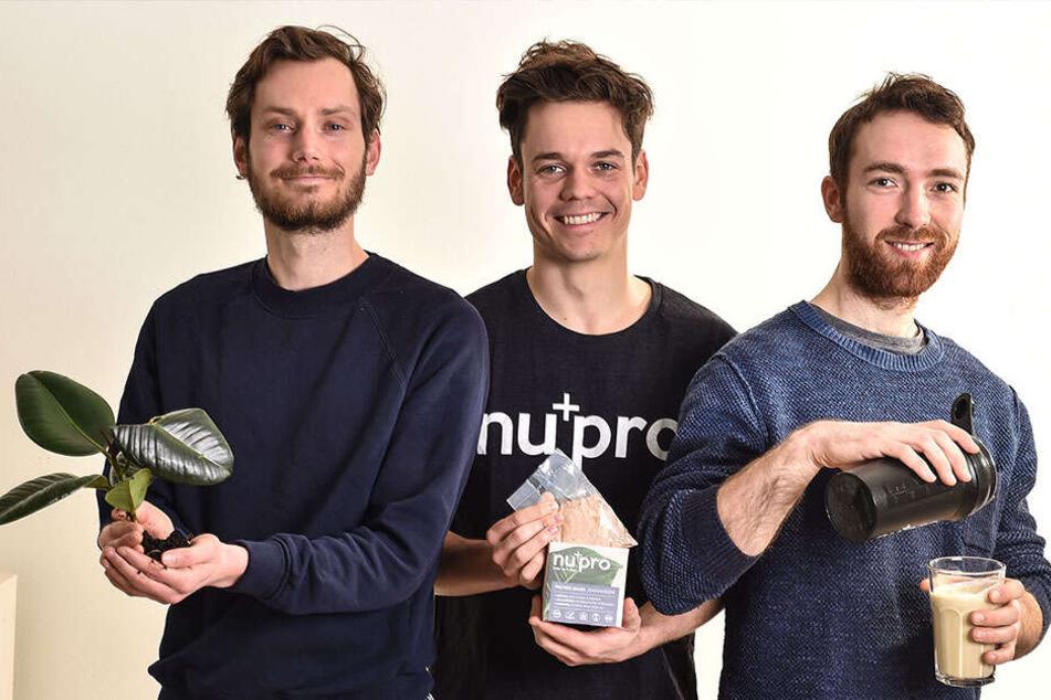 Das Dresdner Gründer-Trio startet jetzt mit umweltfreundlichem Fitness-Shake durch: Thomas Stoffels (30, v.l.), Christian Fenner (27) und Mathias Tholey (29).