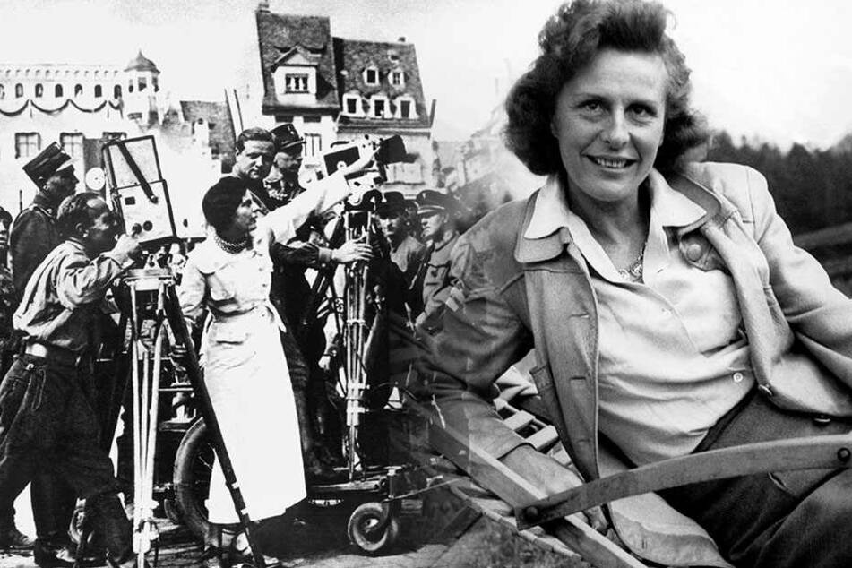 Leni Riefenstahl kurz vor ihrer Verhaftung 1945. (Bildmontage)