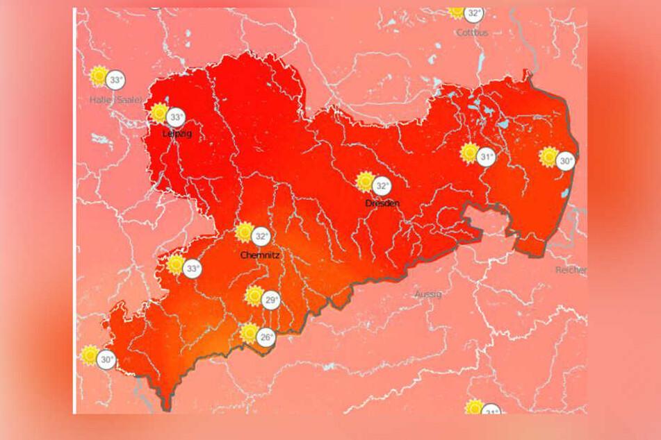 Auch in den nächsten Tagen bleibt es im Freistaat richtig heiß.