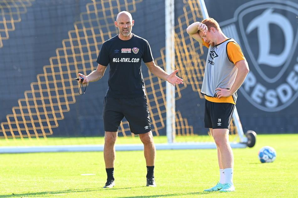 Dynamo-Trainer Alexander Schmidt (52, l.) könnte seine Defensive mit Paul Will (22) verstärken.