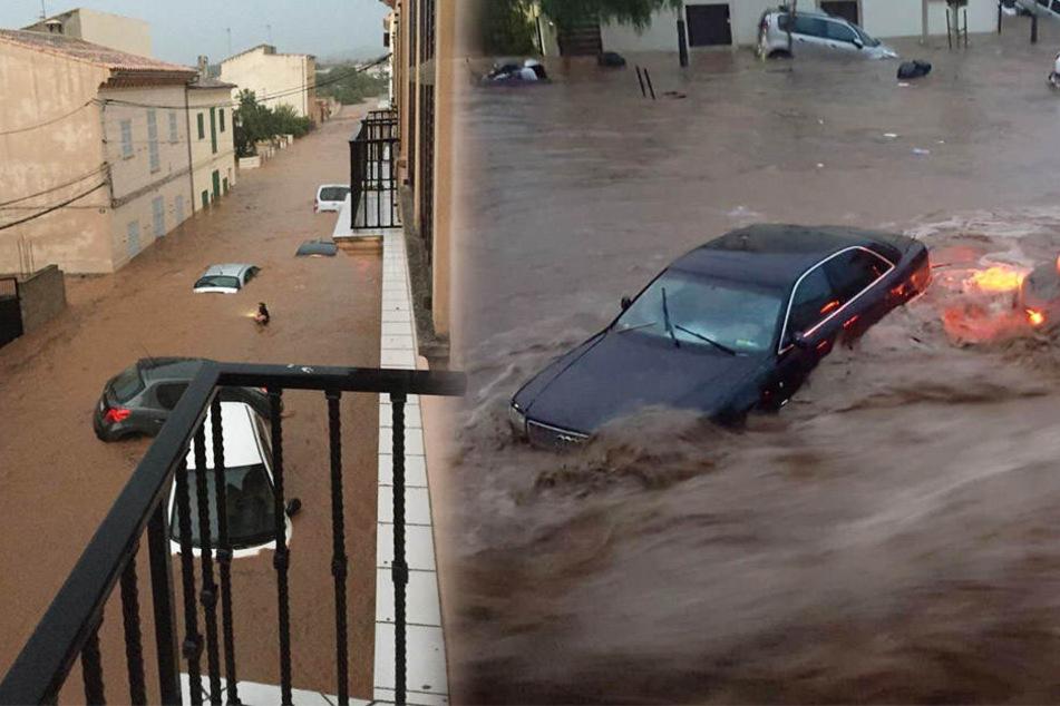 Mehrere Autos wurden auf Mallorca Opfer der Wassermassen.