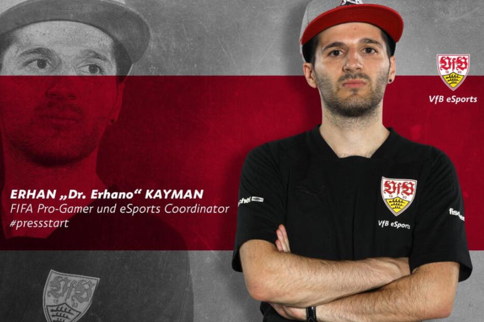 """Erhan """"Dr. Erhano"""" Kayman (28) wurde mit dem VfB Stuttgart eSports Vizemeister in der virtuellen Bundesliga."""
