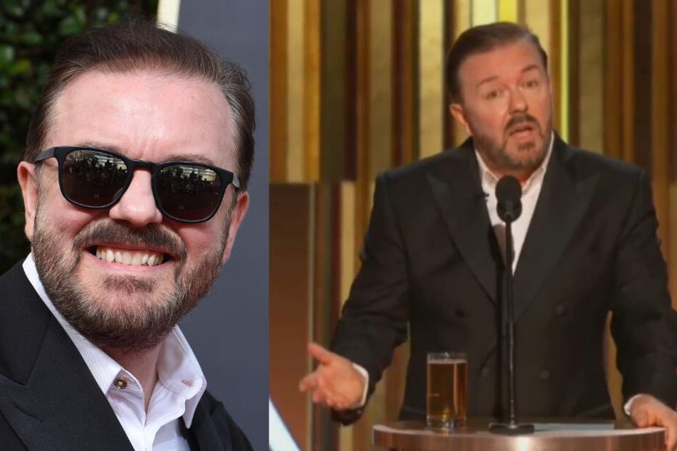 """Ricky Gervais verspottet die Stars bei den Golden Globes: """"Ihr habt weniger Zeit in der Schule verbracht als Greta Thunberg"""":"""