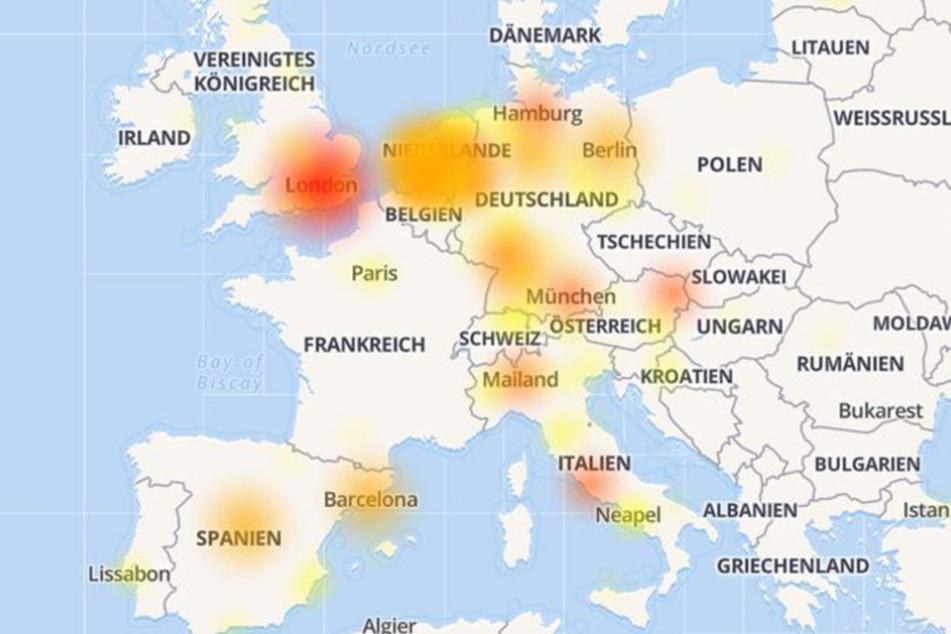 Ganz Europa hatte am Mittwochabend Probleme mit WhatsApp.