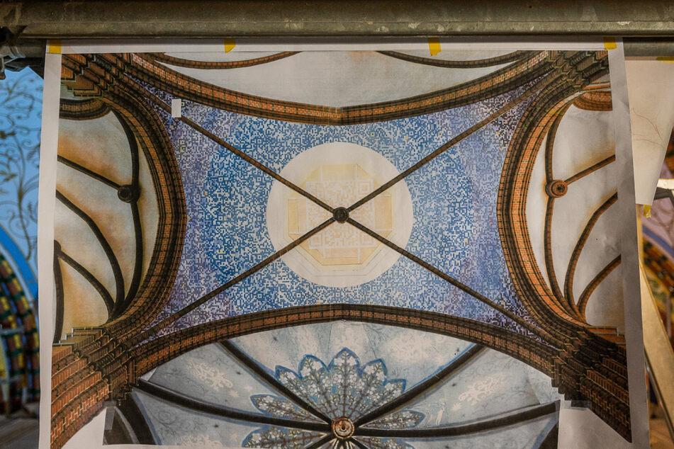 Der Entwurf des Künstlers: So soll das Kuppel-Gemälde einmal aussehen - in der Mitte ist der geheimnisvolle QR-Code zu sehen.