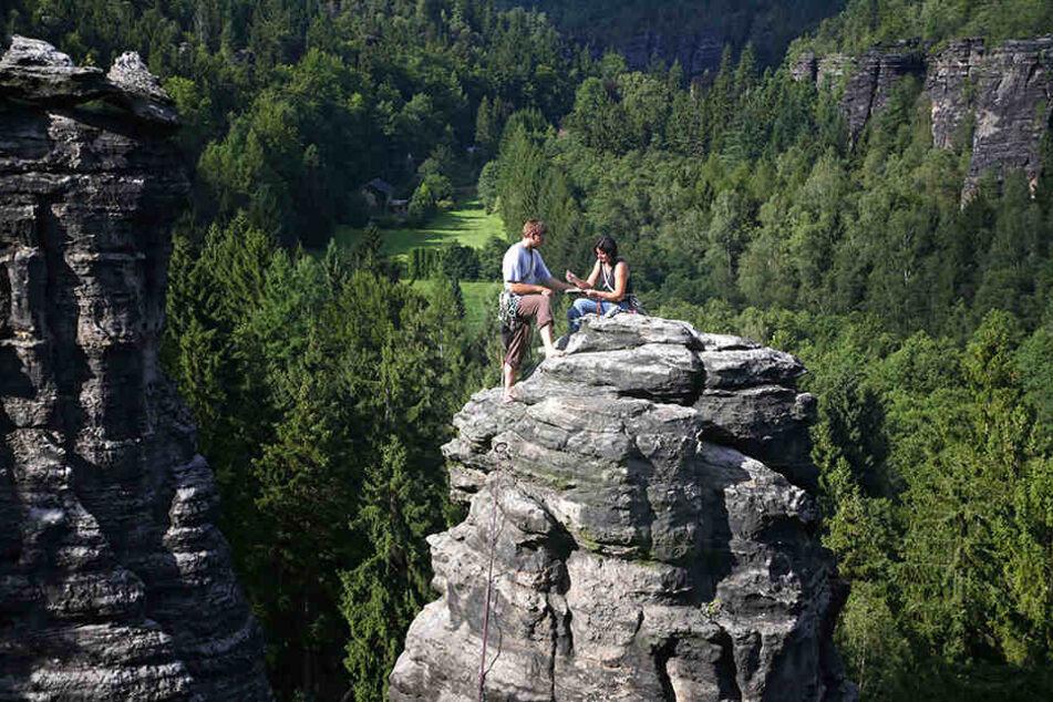 Auf dem Gipfel Johanniswacht: Klettern in der Sächsischen Schweiz ist beliebt.