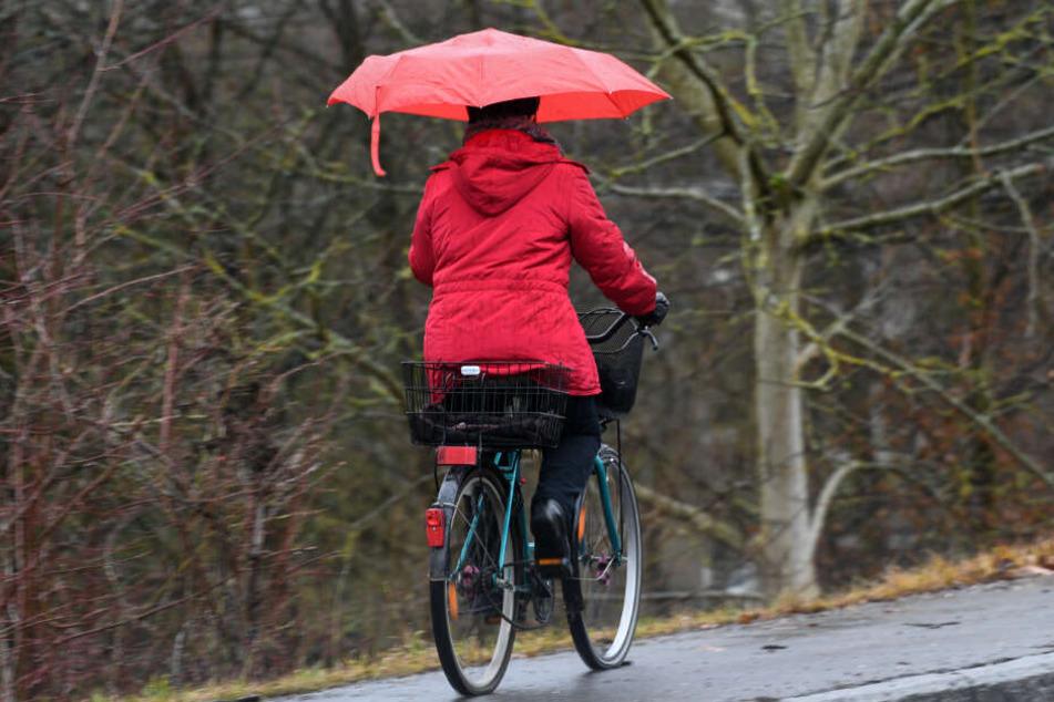 Eine Radlerin fährt bei Weißenau nahe Ravensburg (Baden-Württemberg) mit einem Regenschirm in der Hand auf den Gehweg entlang.