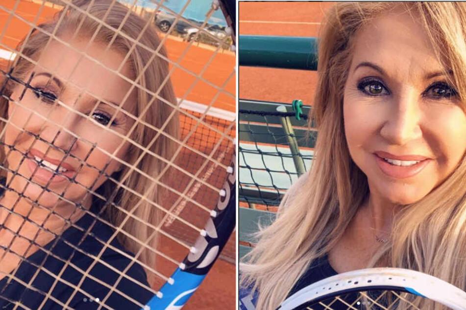 Carmen Geiss freut sich auf ihr Tennis-Match. Für einige Fans hat sie dabei aber zu viel Schminke aufgetragen.