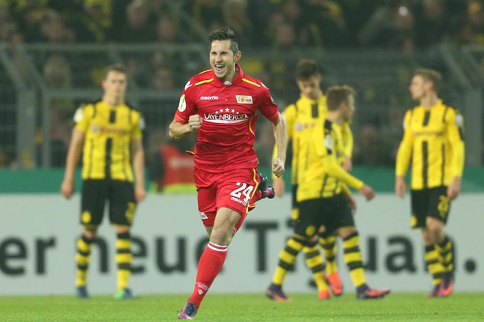 Steven Skrzybski von Union Berlin bejubelt seinen 1:1-Ausgleichstreffer gegen Dortmund