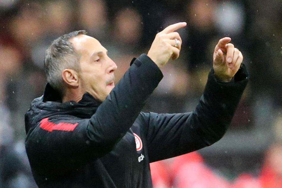 Der Frankfurter Trainer Adi Hütter gestikuliert vom Spielfeldrand.