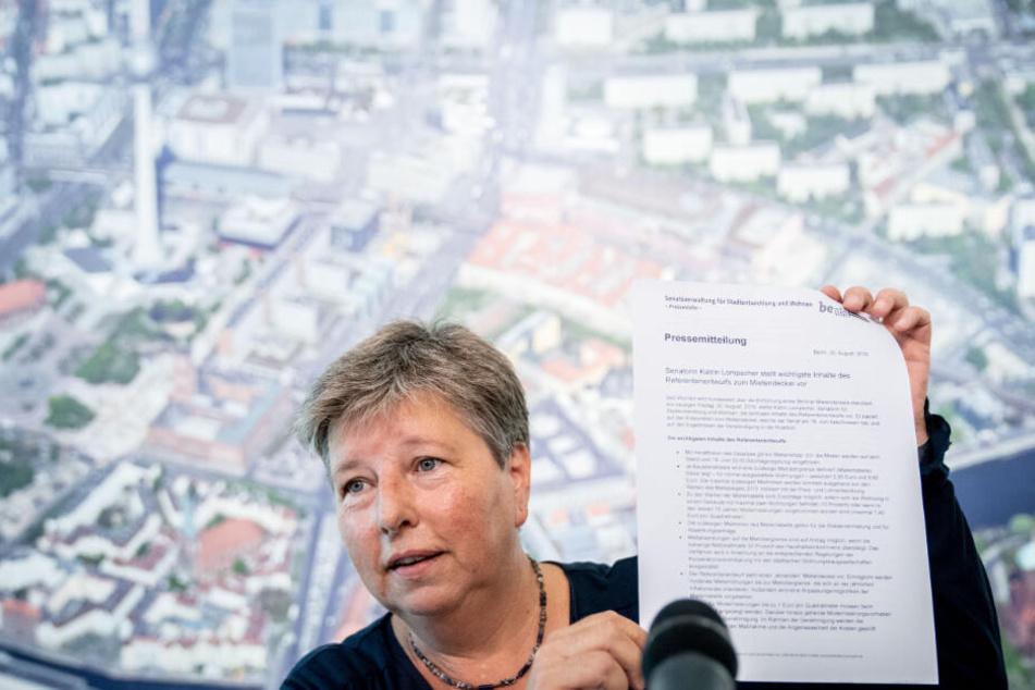 Katrin Lompscher (Die Linke), Berliner Senatorin für Stadtentwicklung und Wohnen, stellt Inhalte des Referentenentwurfs zum Mietendeckel vor.