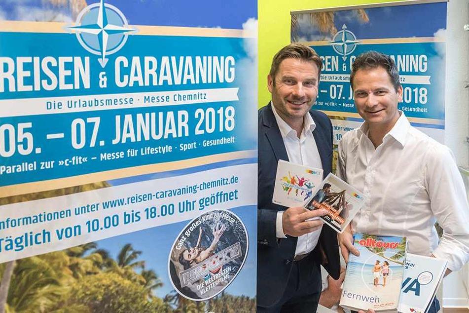 Messe-Chef Ralf Schulze (50, l.) und Reise-Experte Sven Hertwig (46) stellten gestern die Highlights der beiden Veranstaltungen vor.