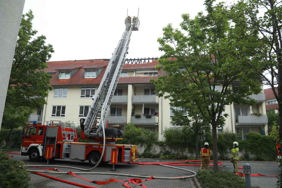 Nach Blitzeinschlag? Dachstuhl in Dresden fängt Feuer