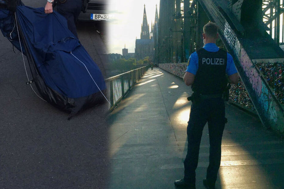 Kölner Hohenzollernbrücke gesperrt: Polizei findet Zelt auf Pfeiler!