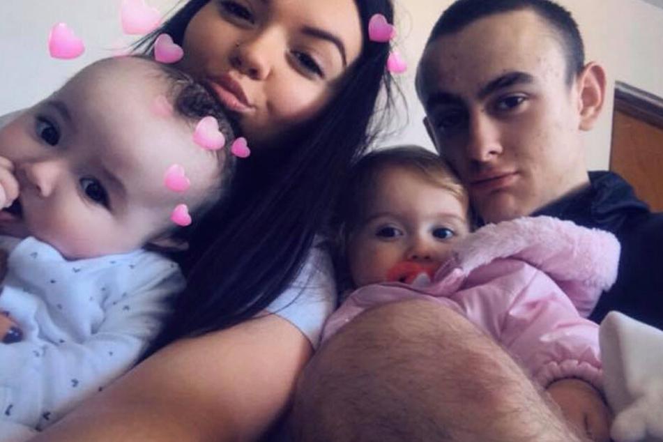 Emmalouise Leggate zusammen mit ihrem Freund Sean und ihren beiden Kindern.