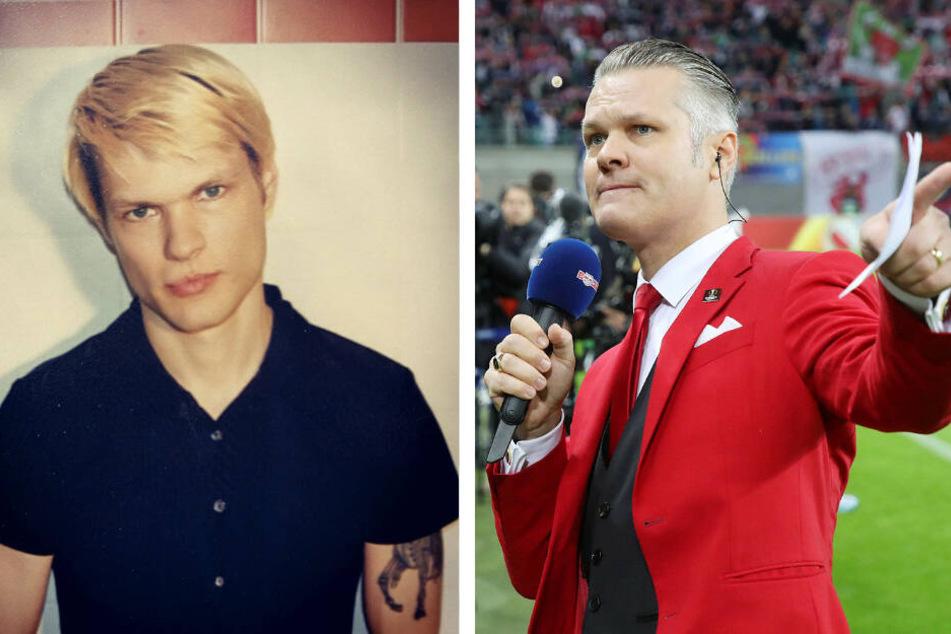 Im Alter von etwa 27 Jahren entstand der linke Schnappschuss von Punkrocker Tim Hespen. 20 Jahre später hat sich Tim Thoelke unter anderem als Stadionsprecher von RB Leipzig einen Namen gemacht.