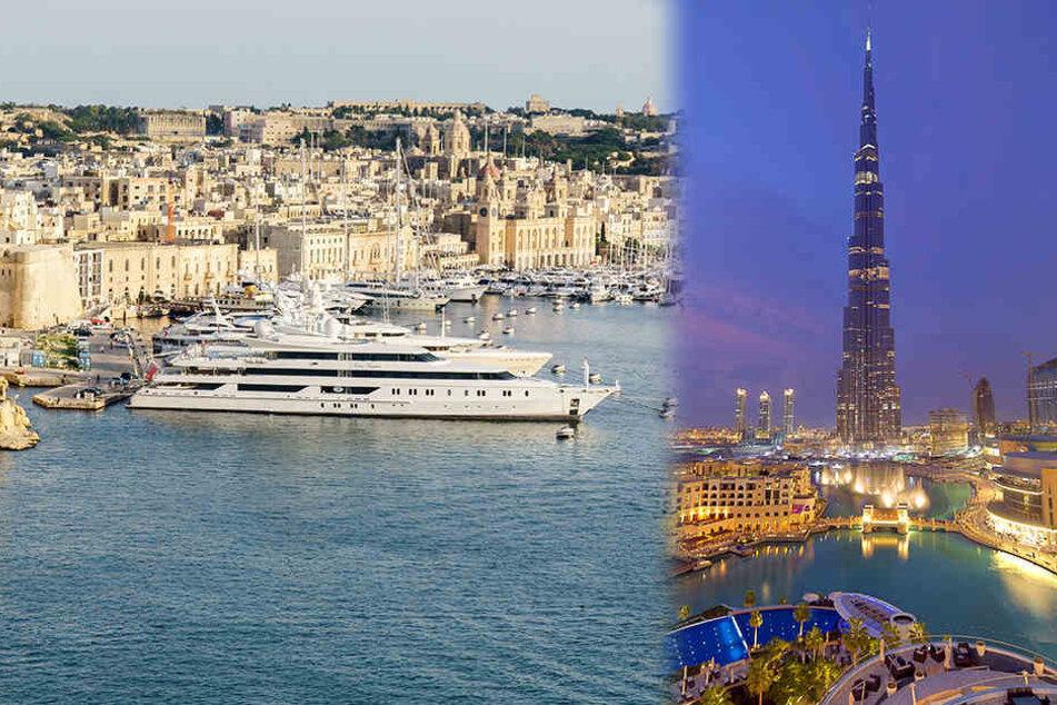 Die Mittelmeerinsel Malta (l.) wird demnächst ab Dresden, Dubai (r.) ab Leipzig/Halle angeflogen.