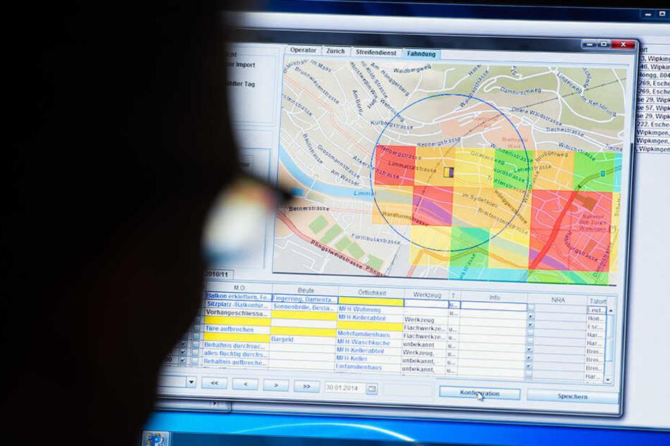 """So sieht die Software """"Precobs"""" aus. Es soll helfen, Wohnungseinbrüche vorherzusagen."""