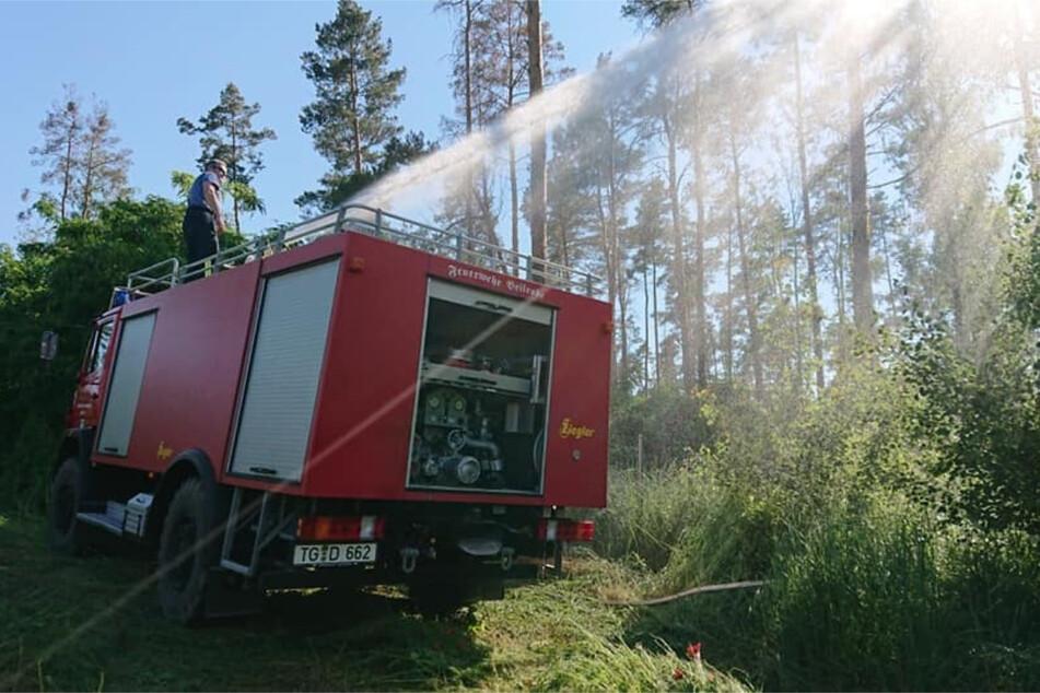 Am Donnerstagnachmittag spritzten die örtlichen Feuerwehren noch vom Waldrand aus Wasser auf die Brandstellen.