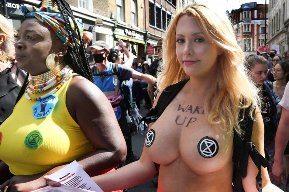 Activist goes topless for two weeks of climate emergency protests
