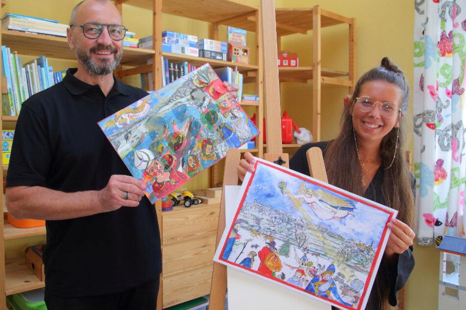 Kunsttherapeutin Phylicia Seidel (26) und Lion Thomas Rohe (59) hoffen auf viele Käufer für den Benefiz-Adventskalender.