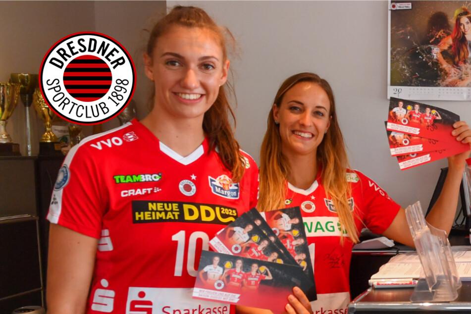 Dresdner SC: Lena und Lenka übergaben die ersten Tickets persönlich