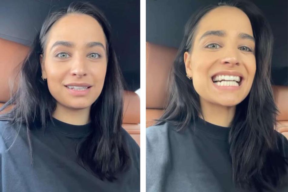 Amira Pocher (28) trägt derzeit durchsichtige Zahnschienen, die ihre Zähne richten sollen.