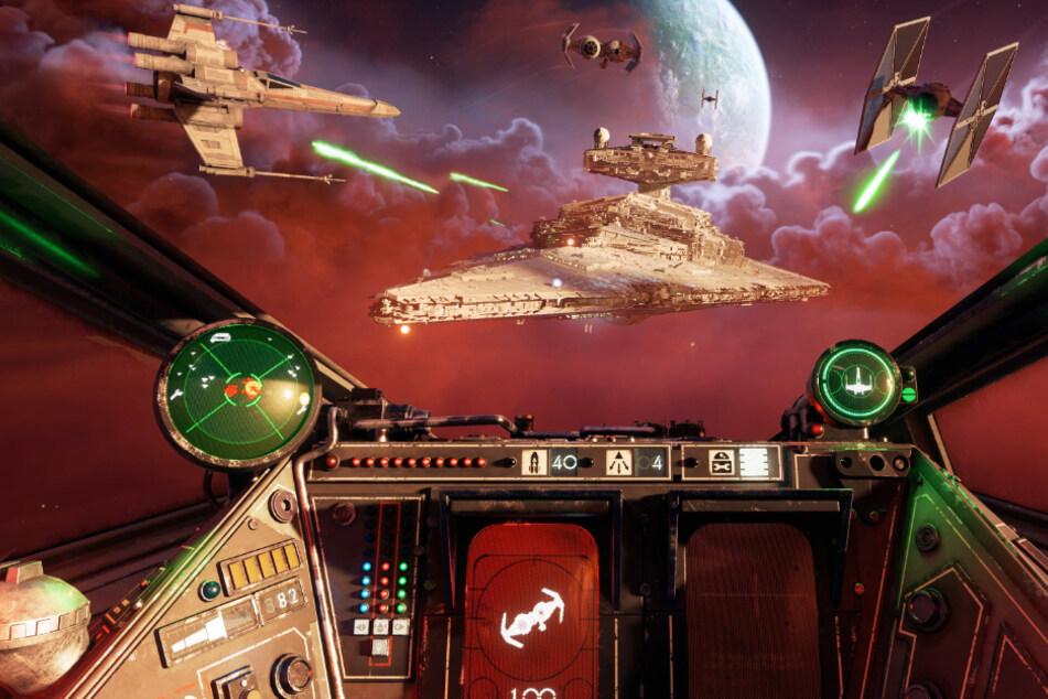 """Endlich mal einen X-Wing fliegen: Mit """"Star Wars: Squadrons"""" liefert EA eine Flugsimulation im """"Krieg der Sterne""""-Universum, die realistischer kaum sein könnte. Dazu gehört natürlich auch die entsprechende Perspektive: Weltraumschlachten werdet Ihr in """"Squadrons"""" nur wie im oberen Bild erleben."""