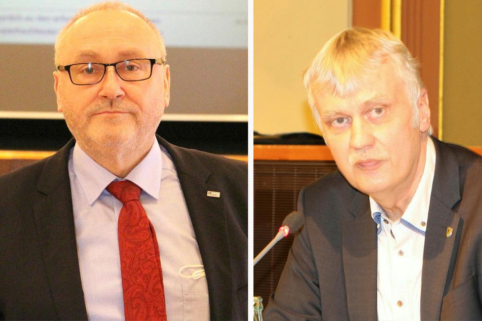"""LMBV-Chef Bernd Sablotny (57, l.) und Markkleebergs OB Karsten Schütze (54, SPD) halten das Überflutungsszenario für denkbar, aber """"äußerst gering""""."""