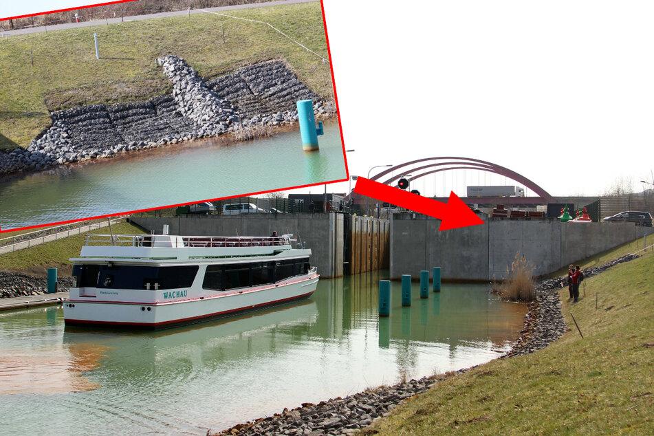 Während die MS Wachau am heutigen Donnerstag die Schleuse noch einmal passieren durfte, gilt ab Freitag auch ein Verbot des Bootsverkehrs. Grund sind die massiven Böschungsschäden (kl. Foto) an der Schleuse.