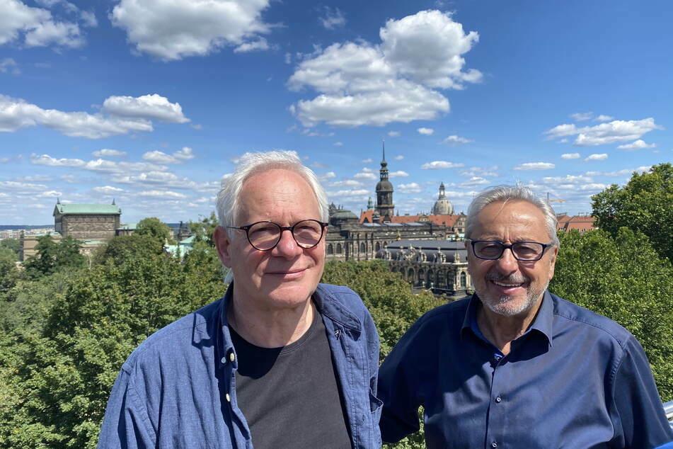 """Wolfgang Stumph (seit heute 75!) und Peter Kahane (71) im Sommer am Rande von Dreharbeiten in Dresden. Kahane hat 20 Mal als Drehbuchautor und elfmal als Regisseur mit """"Stubbe"""" zusammengearbeitet."""