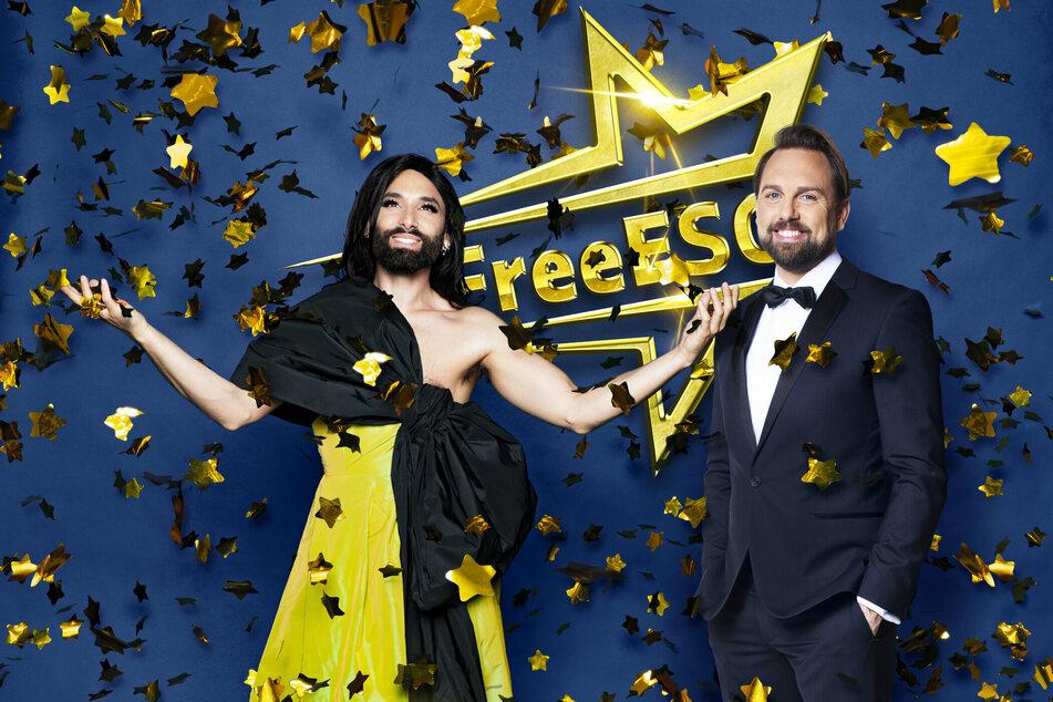 """Conchita Wurst (32) und Steven Gätjen (48) moderieren den """"Free ESC""""."""