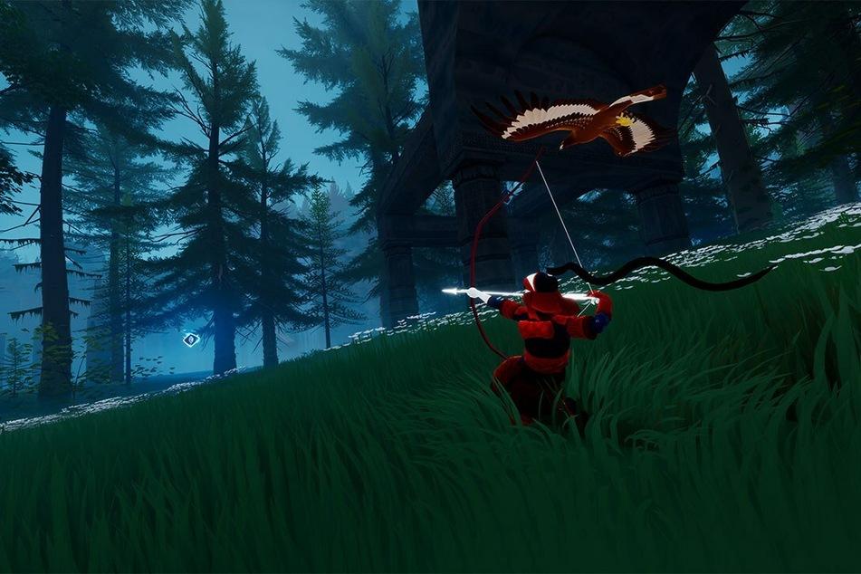 """In """"The Pathless"""" erkundet Ihr als die letzte Jägerin eine geheimnisvolle Insel. Dabei stets an Eurer Seite: Euer treuer Adler."""