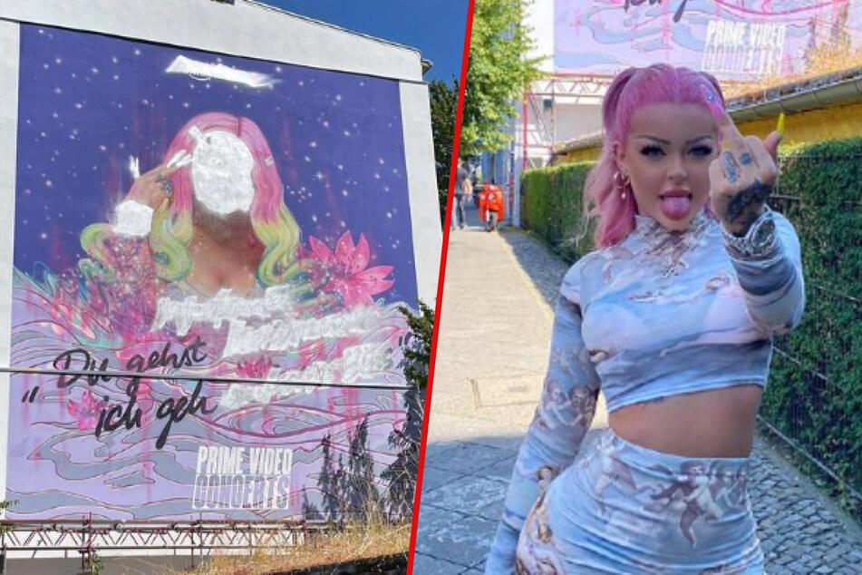 Ein Bild von Katja (24) zur Promo ihrer neuen Doku wurde von Vandalen übermalt. Doch wie immer lässt sich die Rapperin davon nicht unterkriegen.