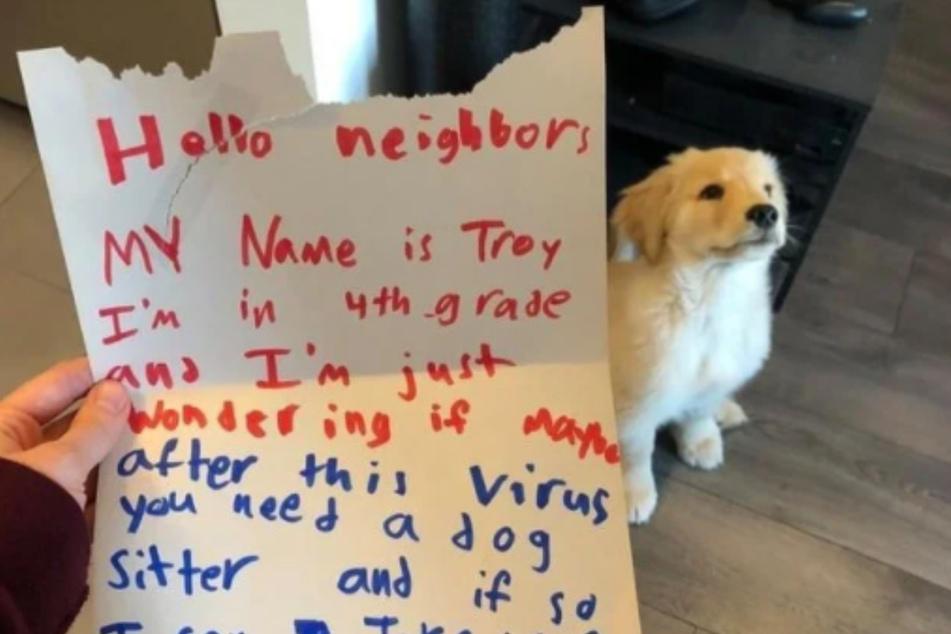 Hundebesitzer ist total gerührt, als er Brief des Nachbarjungen liest
