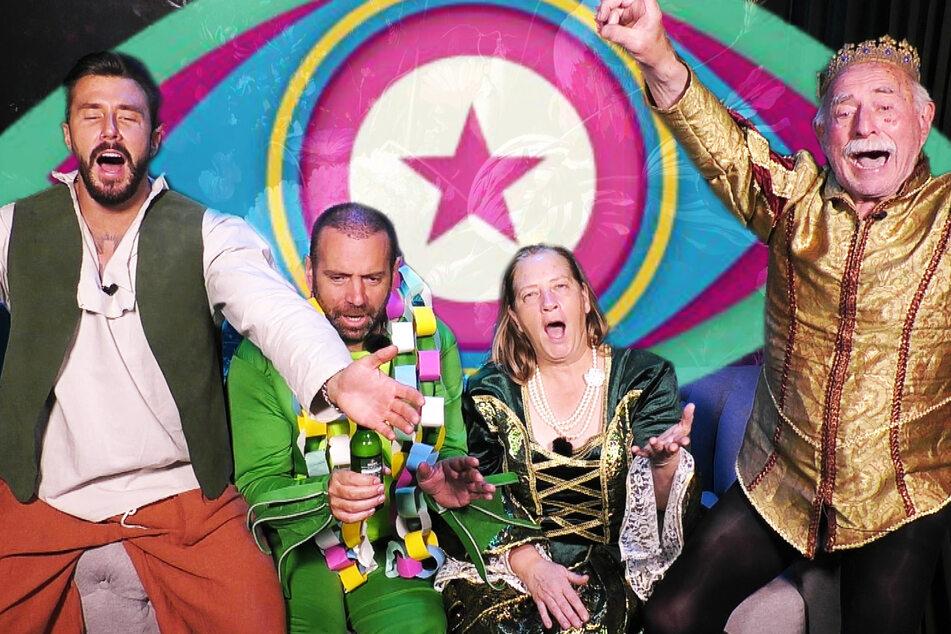 Die vier Finalisten in Partylaune (v.l.n.r.): Mischa Meyer (28), Ikke Hüftgold (43), Kathy Kelly (57) und Werner Hansch (82).
