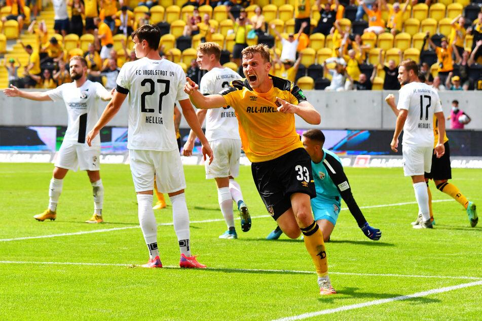 Daferner-Doppelpack! Der treffsichere Stürmer (v.) bejubelt sein Tor zum 2:0 für die SGD.